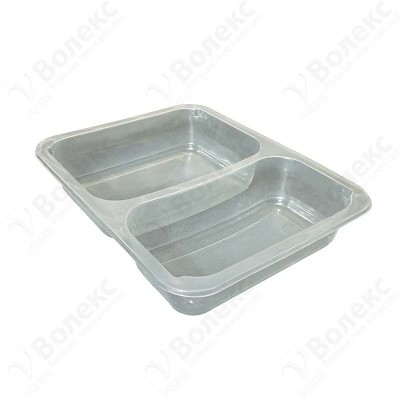Meal tray for tray sealers 2 compartment 227x178 mm. H:42