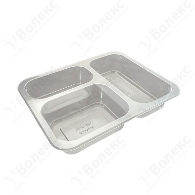 Meal tray for tray sealers 3 compartment 227x178 mm. H:42