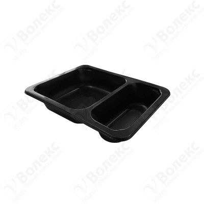Meal tray for tray sealers 2 compartment black 190x144 mm. H:35